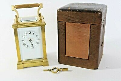 Small 19thC French Carriage Clock - Heavy High-quality with Original Carry Case
