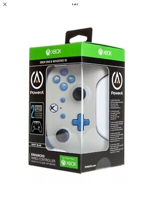 Power A Enhanced Wired Controller for Xbox One/Windows 10 (GREY & Blue) 3.5mm