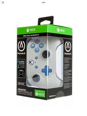 Power A Enhanced Wired Controller for Xbox One/Windows 10 (GREY & Blue) NEW