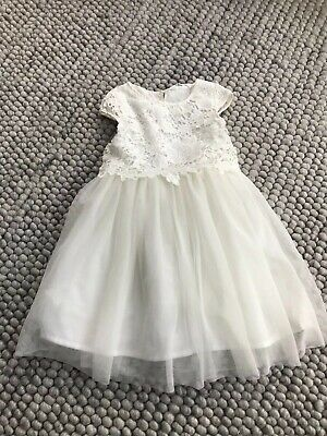 H&M Girls Age 9-10 Party Xmas Bridesmaid Dress Lace And Mesh Ivory And Sparkle