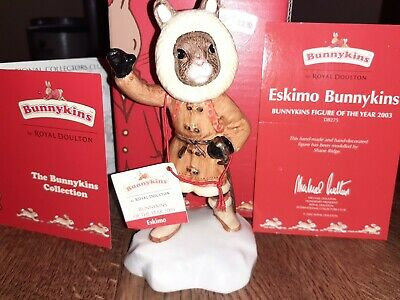 "*Christmas* #Db275Doulton ""Bunnykins""(2003 Figure Of Year)""Eskimo"" & Box/Coa"