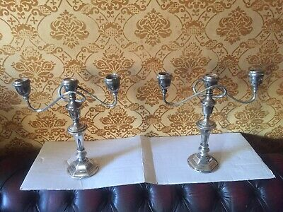 2 x Large Vintage Silver Plated  Candelabra Matched Pair