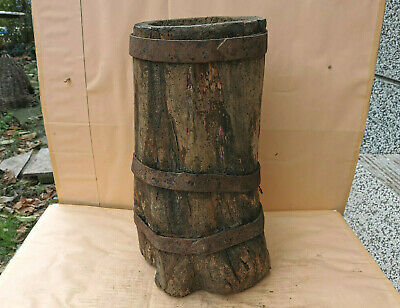Antique Primitive Old One Piece Wood Very Big Massive Wooden Mortar For Spices