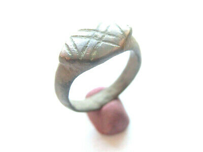Late ROMAN PERIOD Early Christian BILLON Ring with *CROSS*  on bezel engraved