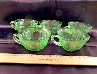 Five Vintage Green Anchor Hocking Princess Depression Glass Teacups, Ca. 1931