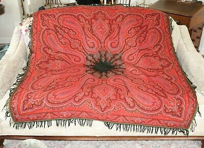"""Antique Kashmir Wool Red Paisley Shawl-Christmas Tablecloth c1880~55"""" Square"""