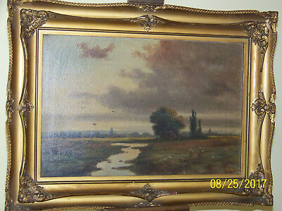 American Barbizon School c19th Century Original Oil On Canvas Meadow Landscape