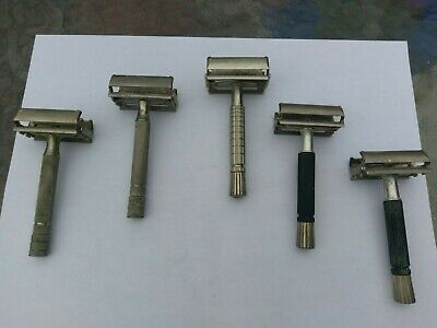 Lot of 5 Vintage Gillette Razors     Estate FInd