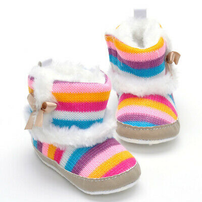 Kids Childrens Baby Girls Warm Knit Boots Ankle Winter Shoes Prewalker Shoes