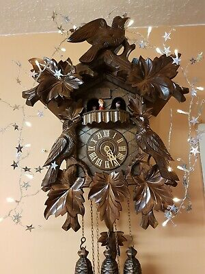 LARGE STUNNING  8 DAY   MUSICAL  CUCKOO  CLOCK / Servised/VERY Clean/ SWITCH OFF