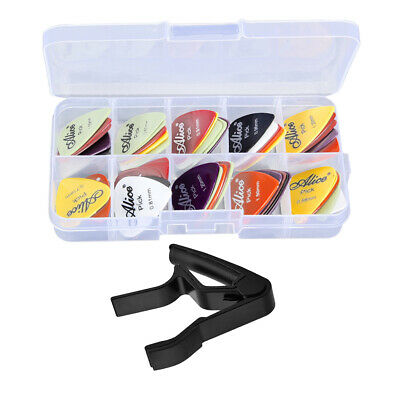 Guitar Capo Tune Clamp w/ 24 Picks Plectrums for Acoustic Electric Guitar