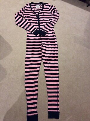 Jack Wills All In One Pyjamas Lounge Suit Pink and Navy Stripe Size 10