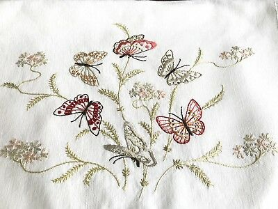 Beautiful VINTAGE HAND EMBROIDERED Off White NIGHTDRESS CASE CUSHION COVER