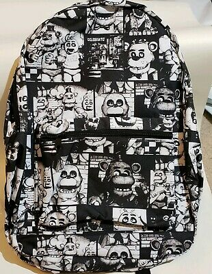 """Brand New Five Nights at Freddys School Bag 17"""" Backpack Black and White Design"""