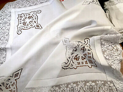 Vintage Hand Embroidered White Linen Cutwork Monogrammed Lace Hem Tablecloth