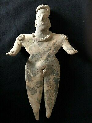 Pre-Columbian Colima Standing Female Flat Figure,  ca. 200 BC - 250 AD. LARGE!