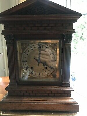 Antique Winterhalder & Hofmeier  Oak Cased ting tang mantel clock (8 days)