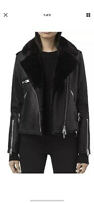 AllSaints HIGGENS LUX Leather Jacket With Vegan Shearling. Black.Size 8