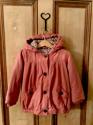 Next Beautiful Pink Toddler Girls Jacket Age 2-3 Years Floral Lined