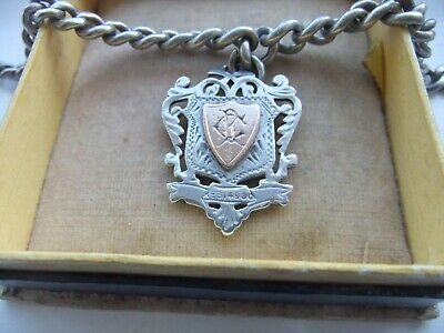 Antique 1900 HEAVY STERLING SILVER ALBERT CHAIN LARGE DOUBLE SIDED FOB 61gram