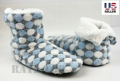 Women's Fuzzy Fleece Lined Soft Warm House Booties Slippers Shoes Non Skid 7-11