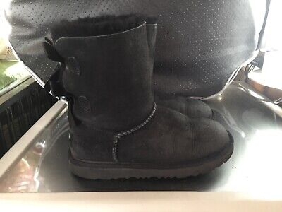 UGG Girls Black Boots Bailey Bow Kids UK Size 1