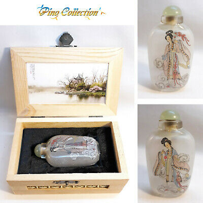 LOVELY OLD ANTIQUE CHINESE GLASS SNUFF BOTTLE PAINTED INSIDE Ladies traditional