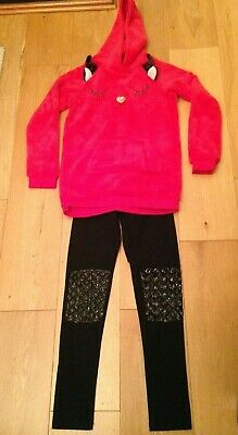 H&M Girls Outfit Age 8-10 Red Fleeced Hoodie And Black Leggings
