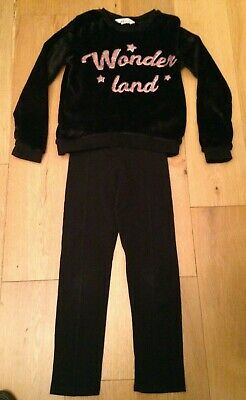 H&M Girls Outfit Age 10-12 Black Fleeced jumper And Black Leggings