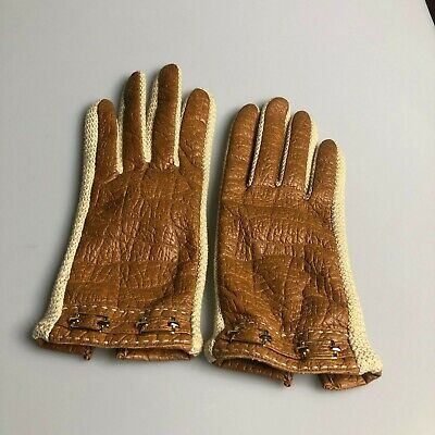 Vintage NovaKid by Ari's Tan Leather Gloves Gold Buckle, Size L