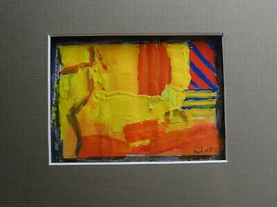 klein abstract schilderij (small abstract painting signed) 2005 framed