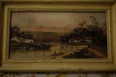Late 19th/Early20th Century Oil on Canvas Painting of Fishing Village