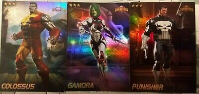Dave and Busters Marvel Contest Of Champions FOIL Cards COLOSSUS/GAMORA/PUNISHER