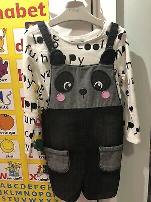 George Girls Dungarees Top And Tights 4-5 Years Worn Once