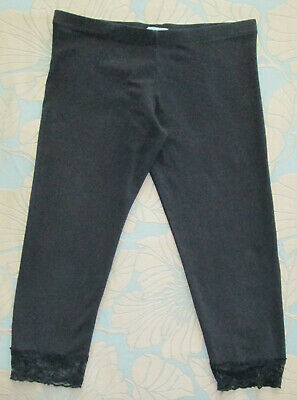 Red Herring Girls Age 13-14 Years - Black Lace Trimmed Cropped Leggings Trousers
