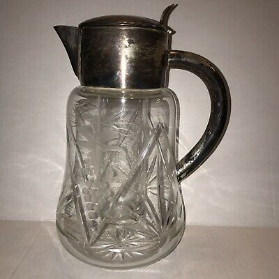 Vintage Cut Crystal Silver Plated Pitcher With Ice Chamber Sunburst ACSI Germany