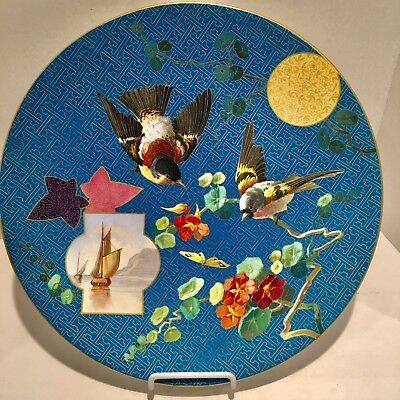 Magnificent Minton Aesthetic Movement Antique Hand Painted Porcelain Charger