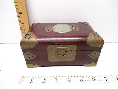 Vintage Chinese Carved inlaid Jadeite Wood Jewelry Music Trinket Box