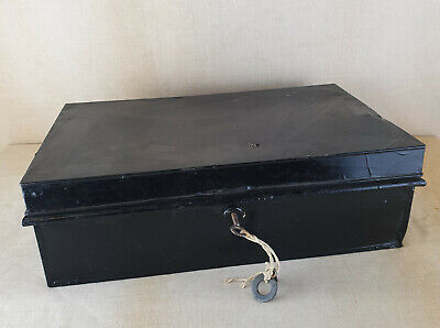 Vintage Black Metal Deed Cash Security Box Made in England with Key