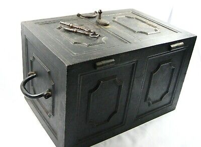 Victorian Antique Carron Cast Iron Chest Safe Box With 2 Keys
