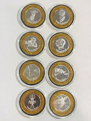 PLAZA Hotel and Casino $10 Silver Strikes 1999 Full Set of 8 Hollywood Classics