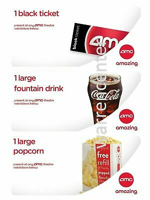 1 AMC Black Ticket no exp-1 LARGE Popcorn &  LARGE Drink (exp 06/20) EMAILED