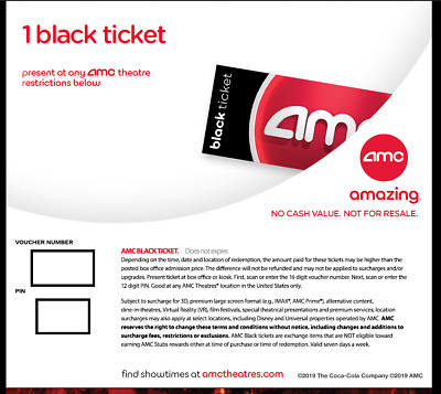 AMC Black Movie Ticket Vouchr - NO EXPIRATION-EMAIL DELIVERY
