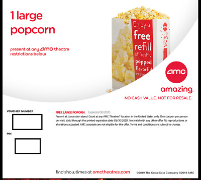 Amc Large Popcorn-Expires 6/30/2020-Email Delivery