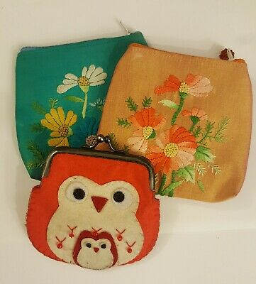 Collection Purses Chinese Silk and Novelty Felt Owl Purse