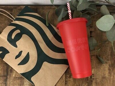 "Starbucks Reusable Red Cold Cup 16oz ""Merry Coffee"" Christmas Holiday 2019"