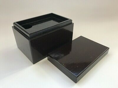 Japanese Wooden Tea Ceremony Tool Storage Box Vtg Lacquer Ware Lidded h140