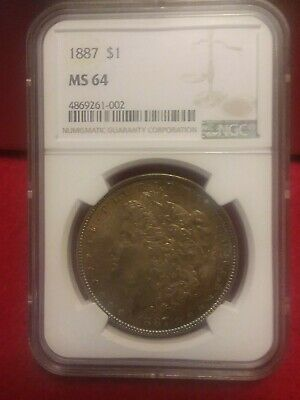 1887 US Morgan Silver Dollar $1 - NGC MS64 (TONED)
