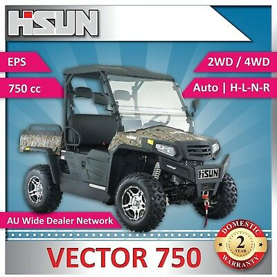 New Hisun 750 Vector Utility Vehicle 750cc H-L-N-R 2/4WD, Winch, Roof, W-Screen
