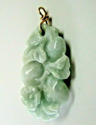 Antique Chinese Pendant, Well-Carved Creamy Pale Blue-Green Jadeite,  20th C